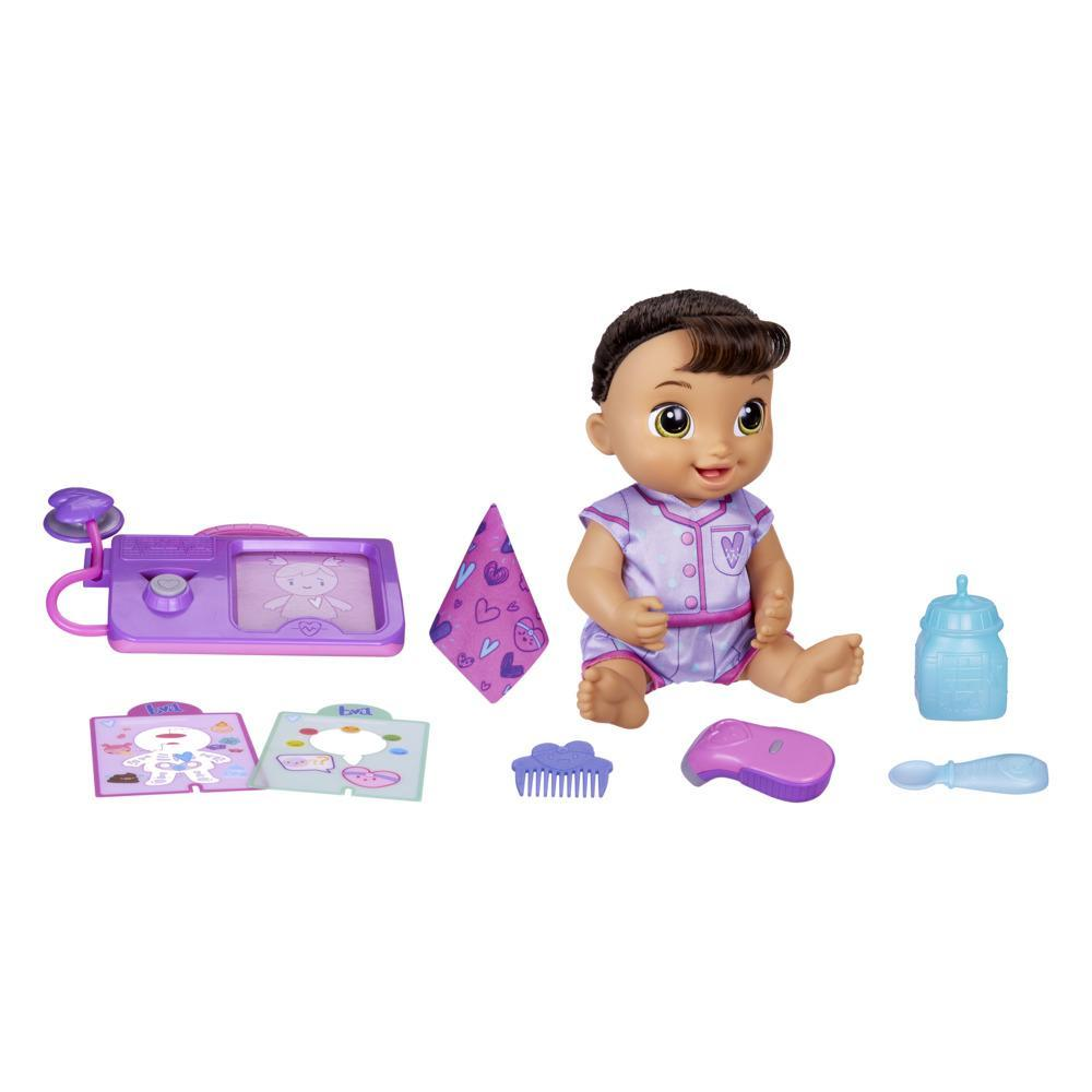 Baby Alive poupée Lulu Achoo, poupée interactive de 30 cm, sons, lumières, mouvements, cheveux châtains, enfants, dès 3 ans