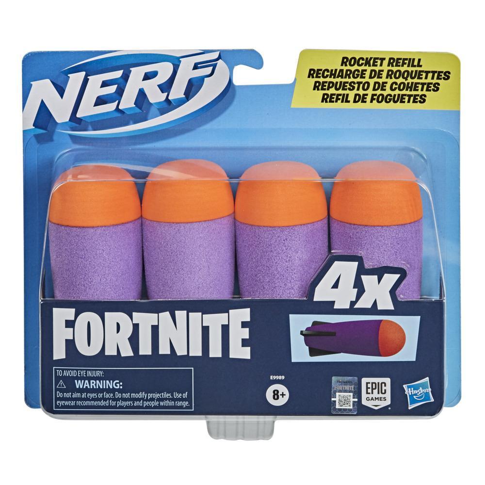 Recharge de roquettes Nerf Fortnite, inclut 4 roquettes Nerf, compatibles avec les blasters à roquettes Nerf Fortnite