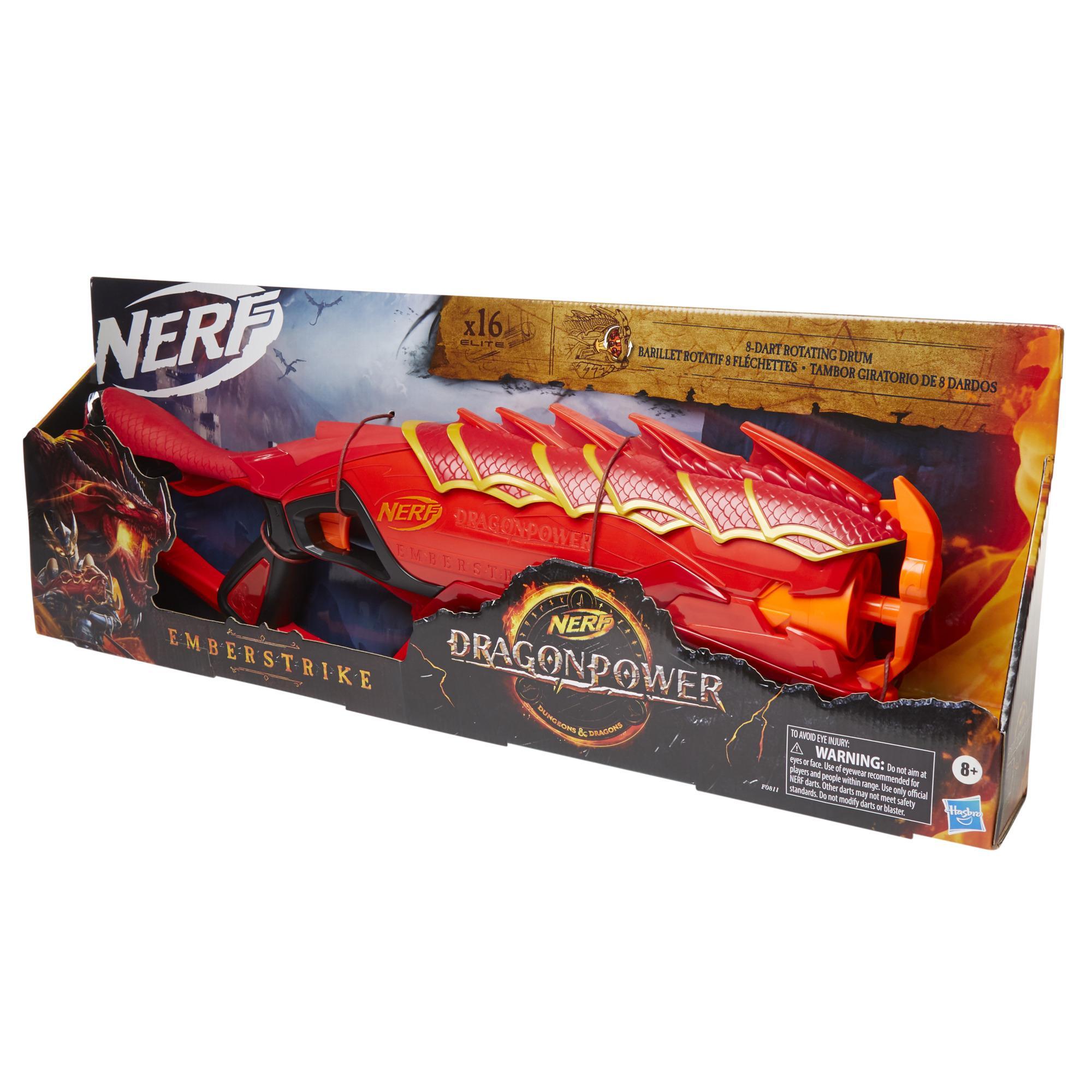 Nerf DragonPower, blaster Emberstrike, inspiré de Dungeon and Dragons, barillet 8 fléchettes, 16 fléchettes Nerf