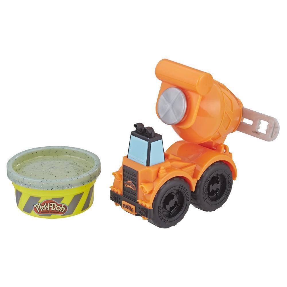 Play-Doh Wheel - Minibétonnière avec 1 pot de pâte de construction Play-Doh atoxique qui imite le ciment
