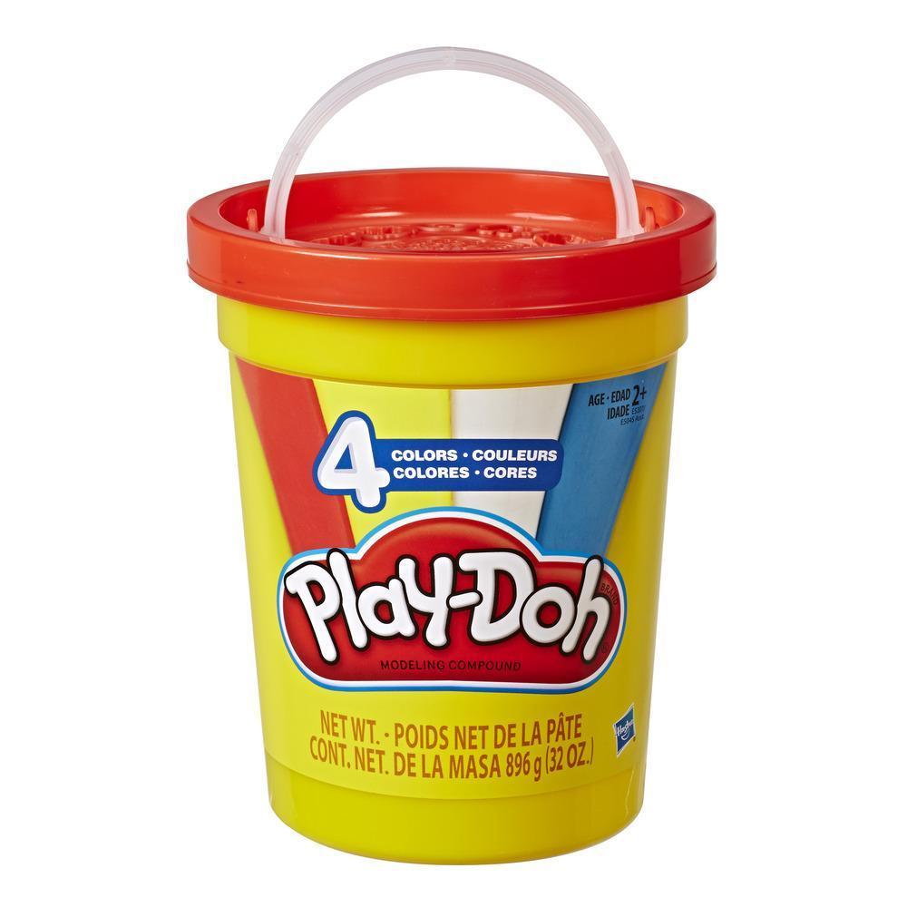 Play-Doh 896 grammes. Super pot rempli de pâte à modeler atoxique de 4 couleurs différentes : rouge, bleu, jaune et blanc