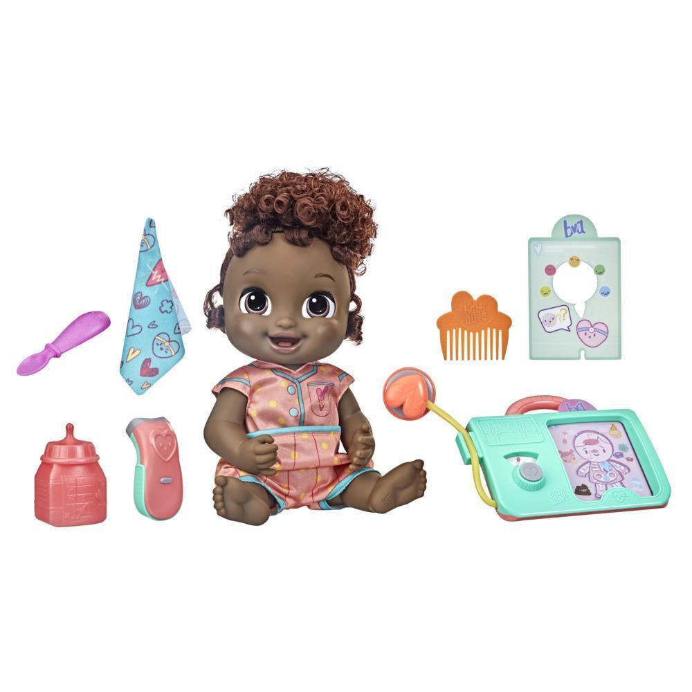 Baby Alive poupée Lulu Achoo, poupée interactive de 30 cm, sons, lumières, mouvements, cheveux noirs, enfants, dès 3 ans