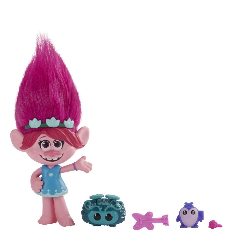 DreamWorks TrollsTopia, Poppie Super cheveux surprise, poupée avec 4surprises cachées dans ses cheveux, dès 4 ans