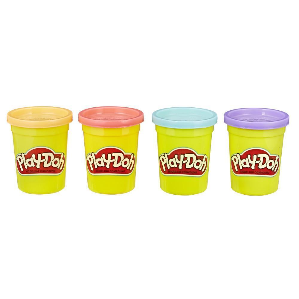 Play-Doh, Pack de 4 couleurs atoxiques, tons sucrés, enfants à partir de 2 ans, pots de 112 g