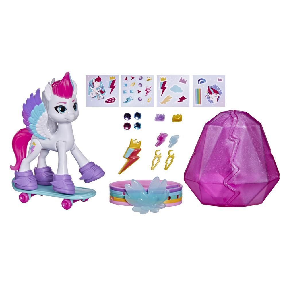 My Little Pony: A New Generation, Aventure de cristal Zipp Storm, figurine de poney blanc de 7,5 cm avec surprises