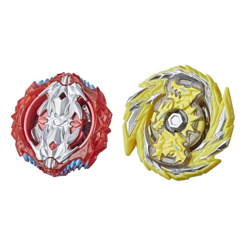 Beyblade Burst Surge Dual, 2 toupies de combat à collectionner Hypersphere Master Kerbeus K5 et Slingshock Leopard L4