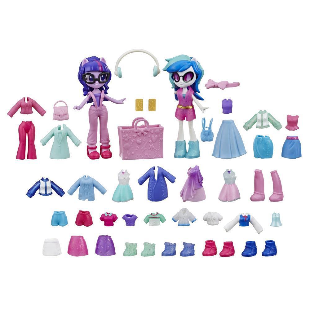 My Little Pony Equestria Girls, Brigade de la mode, mini-poupées Twilight Sparkle et DJ Pon-3 avec plus de 40 pièces