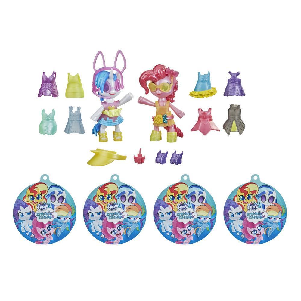 My Little Pony Surprise éclatante, 2 figurines articulées  : Pinkie Pie et DJ Pon-3, 30 pièces et accessoires