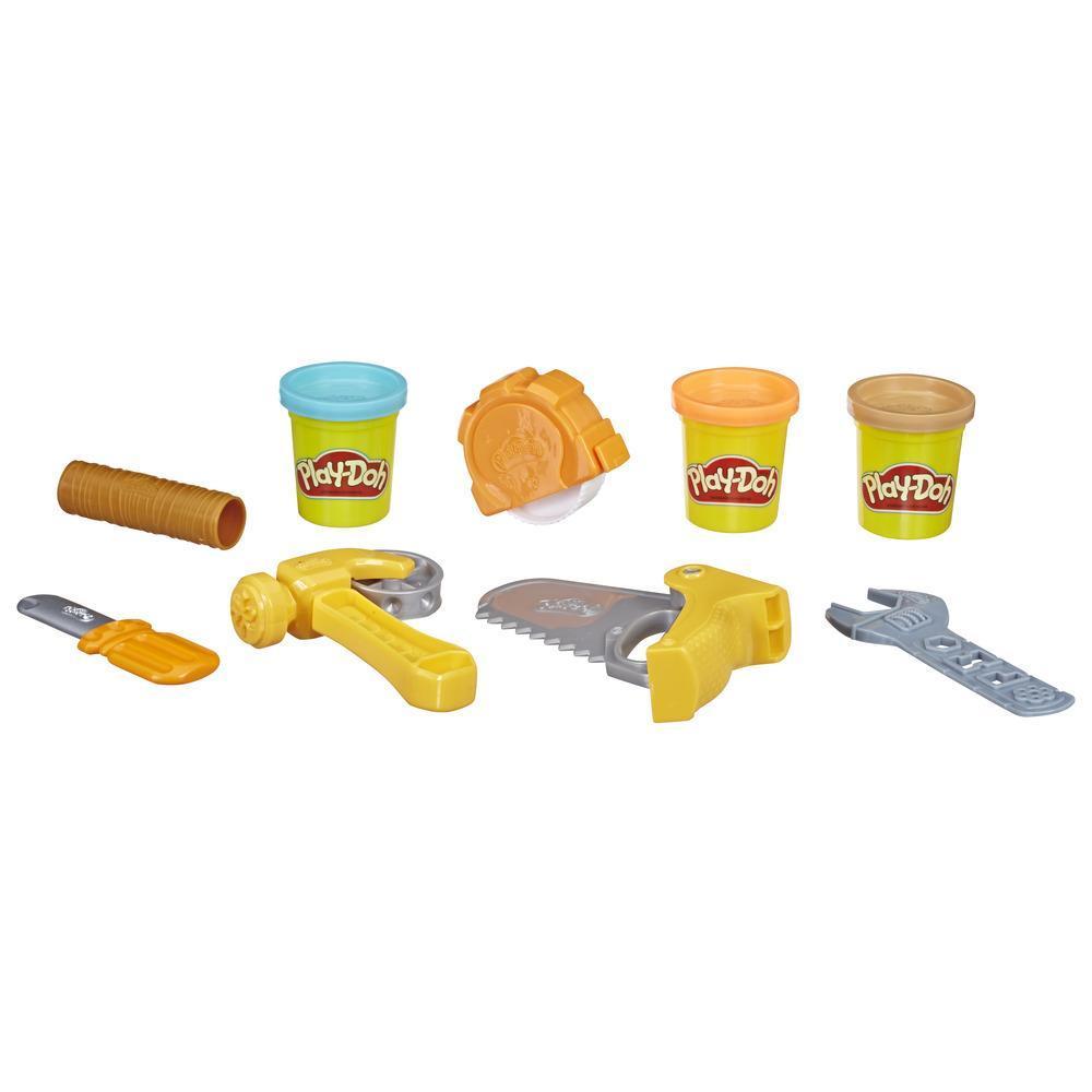 Play-Doh - Coffre à outils, ensemble d'outils avec 3 couleurs de pâte atoxique pour les enfants