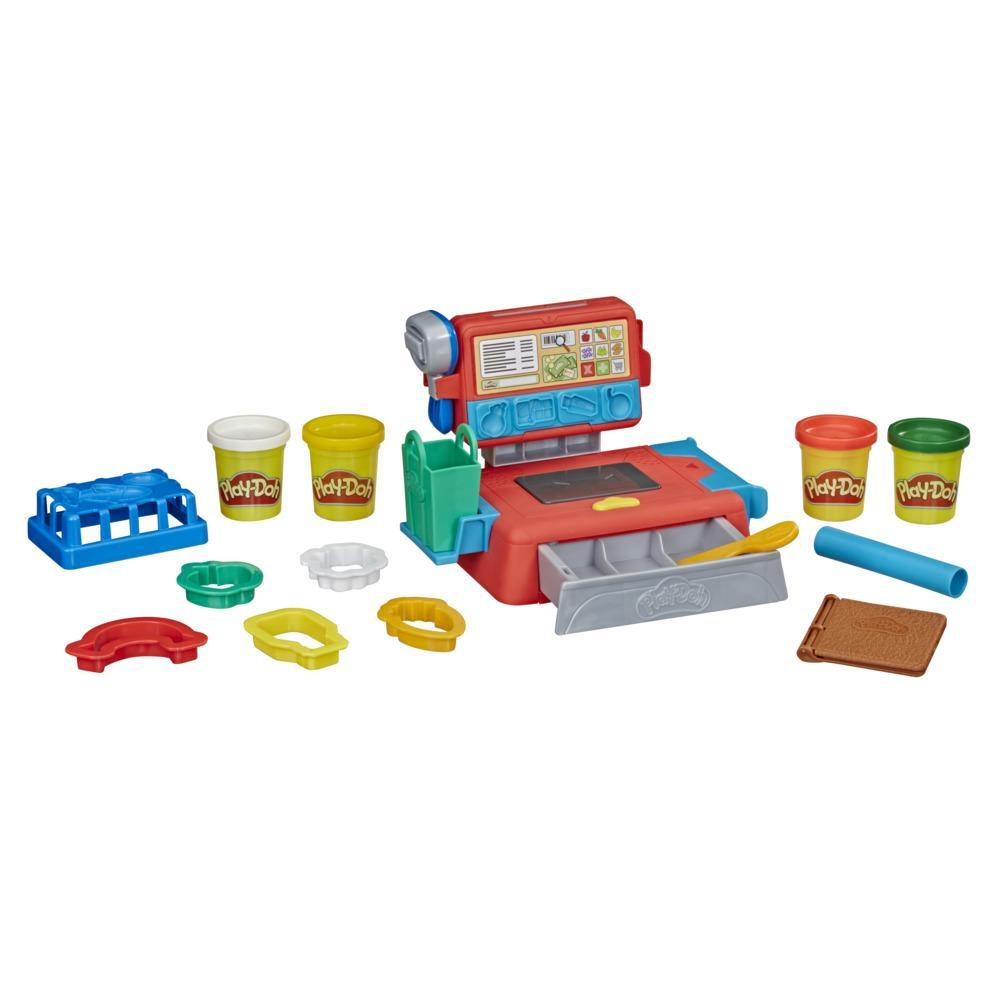 Play-Doh, jouet Caisse enregistreuse avec 4 pots de pâte Play-Doh colorée et atoxique