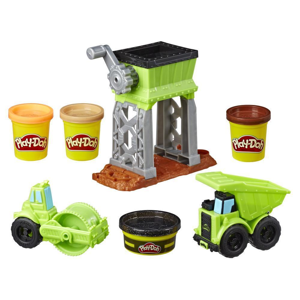Cour de gravier Play-Doh Wheels; jouet de construction avec pâte de construction atoxique imitant l'asphalte et 3 autres couleurs