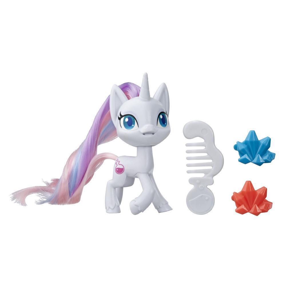 My Little Pony, Potion Nova Potion Pony, poney blanc de 7,5 cm avec crinière à brosser, peigne et accessoires