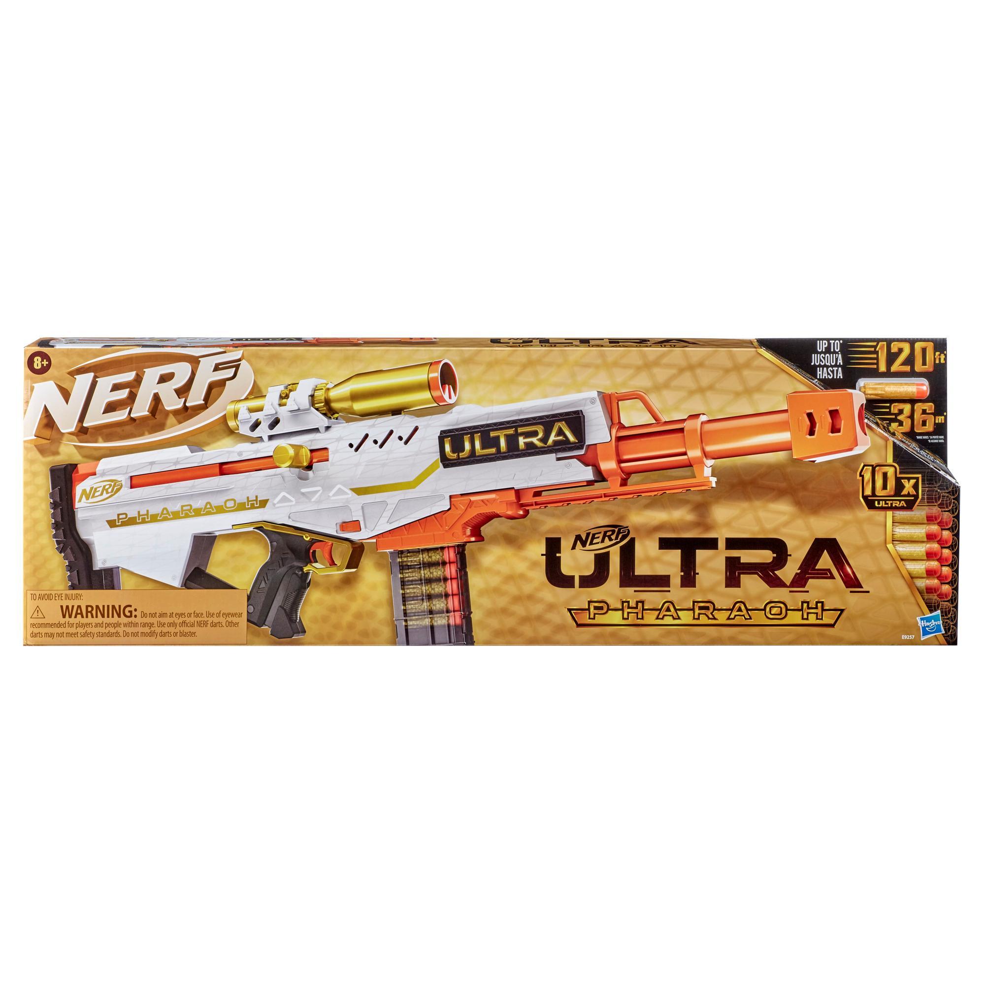 Nerf Ultra, blaster Pharaoh avec accents dorés premium, chargeur 10 fléchettes, 10 fléchettes Nerf Ultra, verrou