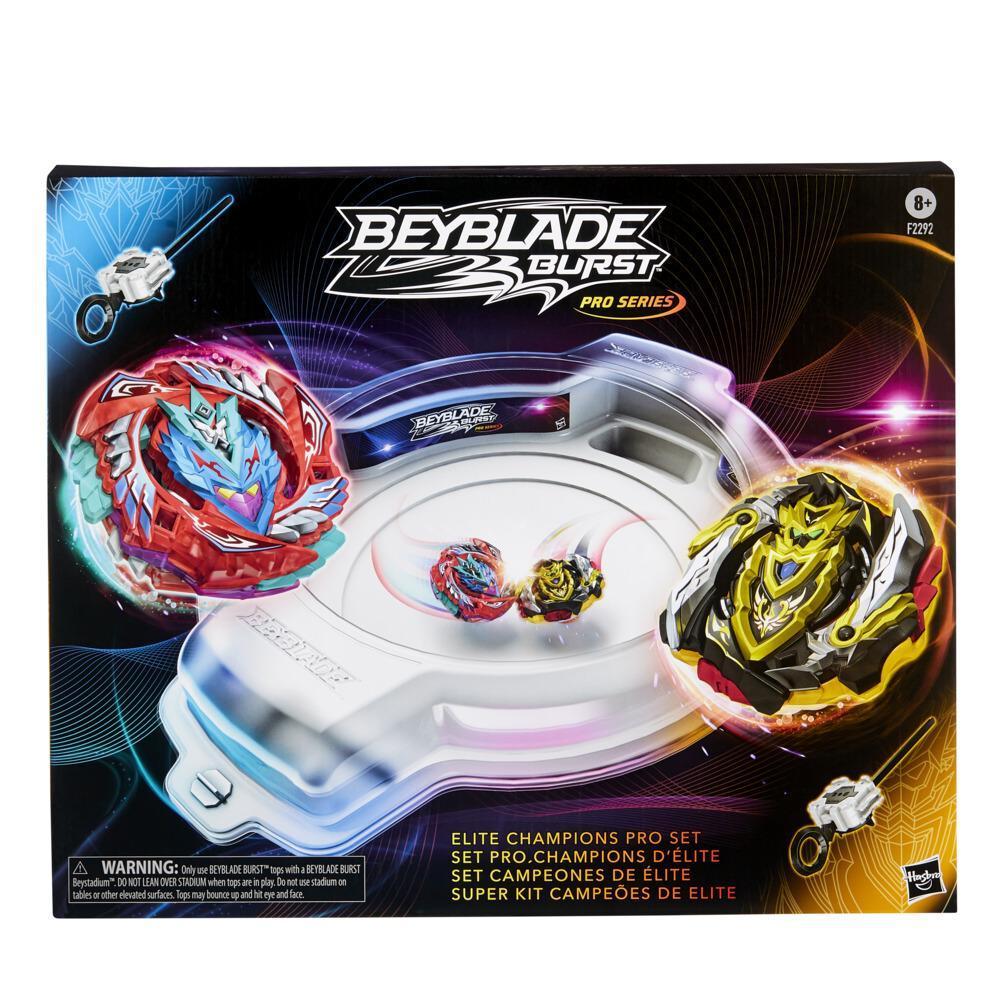 Beyblade Burst Pro Series, Set Pro Champions d'élite, trousse de combat avec arène Beystadium, 2 toupies et 2 lanceurs
