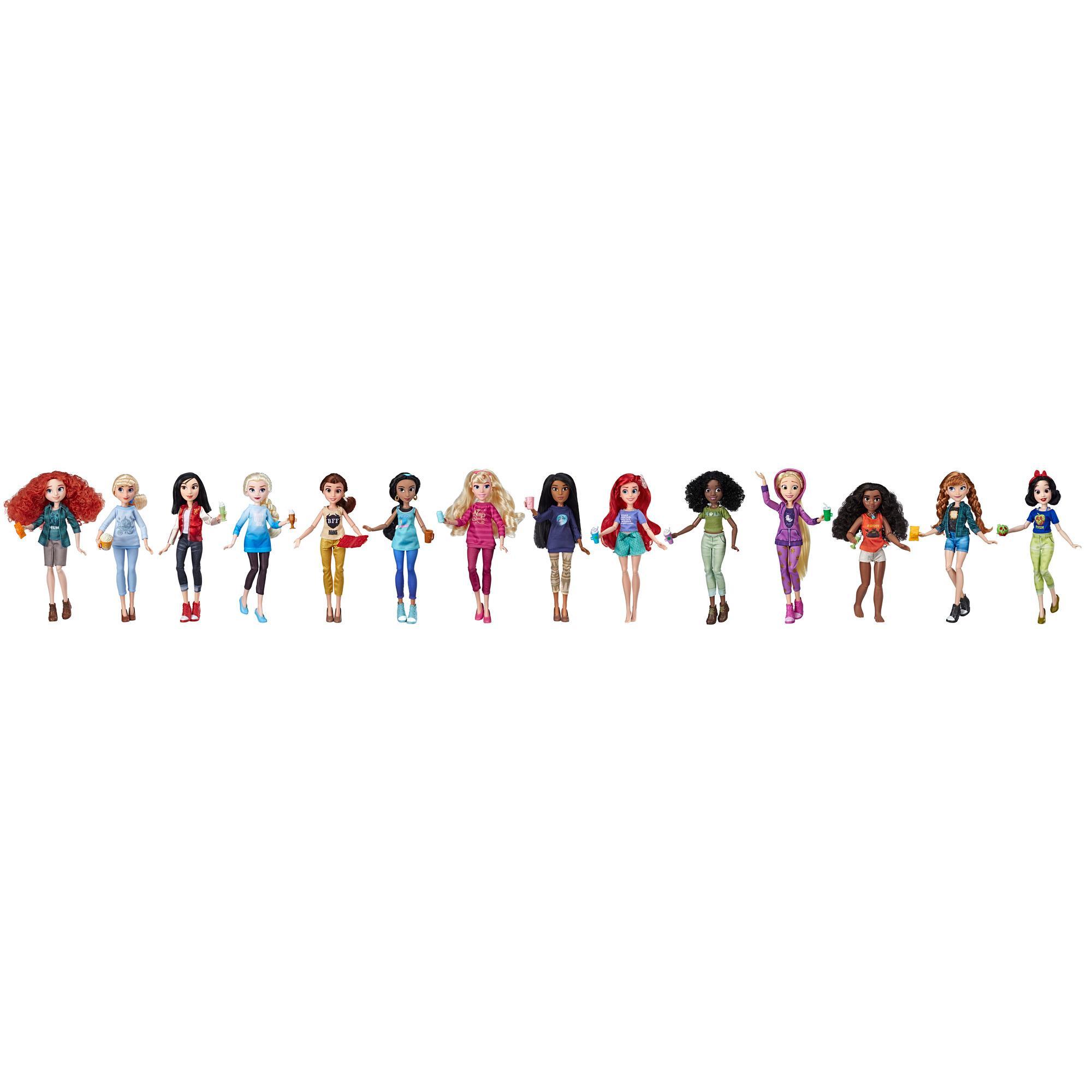 Disney Princess - Ensemble de 14 poupées en tenues décontractées et accessoires inspirés du film Ralph brise l'Internet