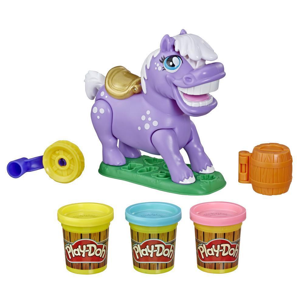 Play-Doh Animal Crew, jeu d'animal de la ferme Naybelle Poney déjanté avec 3 pots de pâte à modeler Play-Doh atoxique de différentes couleurs
