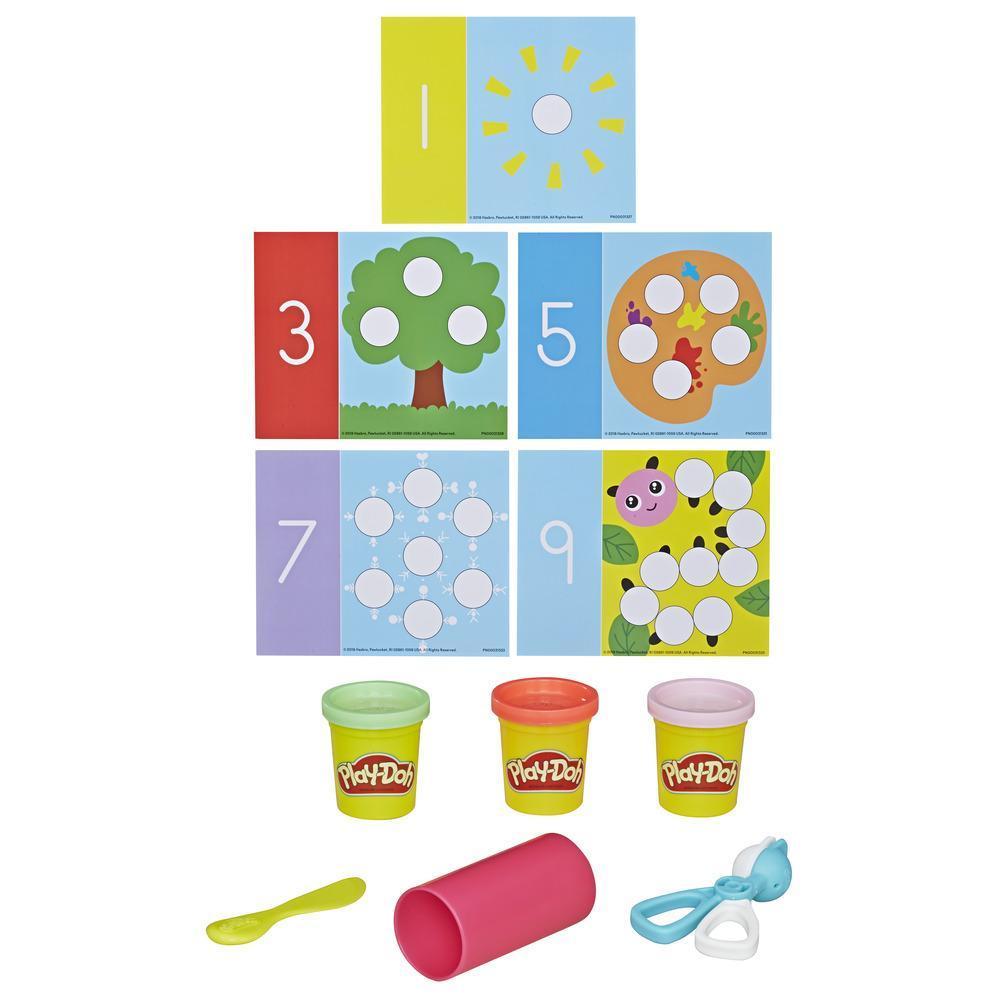 Académie Play-Doh Jeu Chiffres - Ensemble d'activités incluant 3 couleurs de pâte Play-Doh atoxique pour tout-petits et enfants d'âge préscolaire, 2 ans et plus