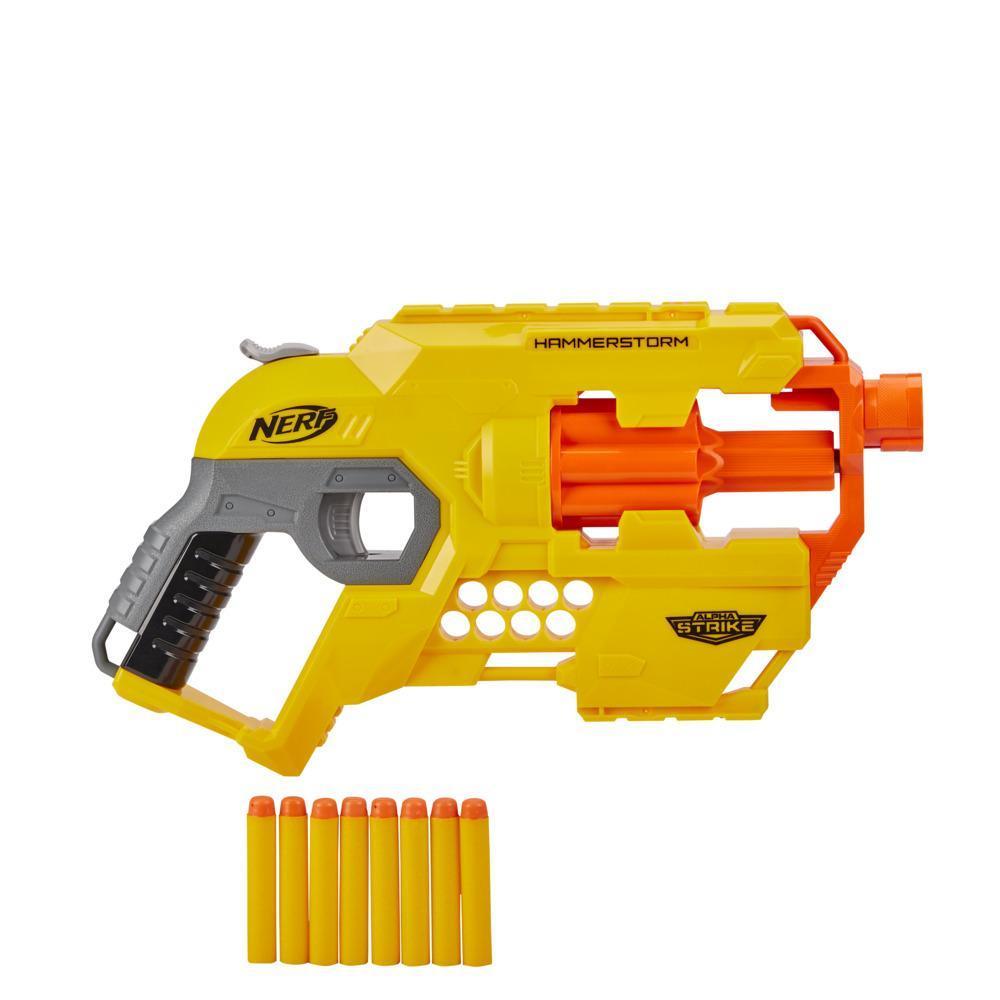 Blaster Nerf Alpha Strike Hammerstorm - Armoçage par percuteur, barillet rotatif et 8 fléchettes Nerf officielles, pour enfants, ados et adultes