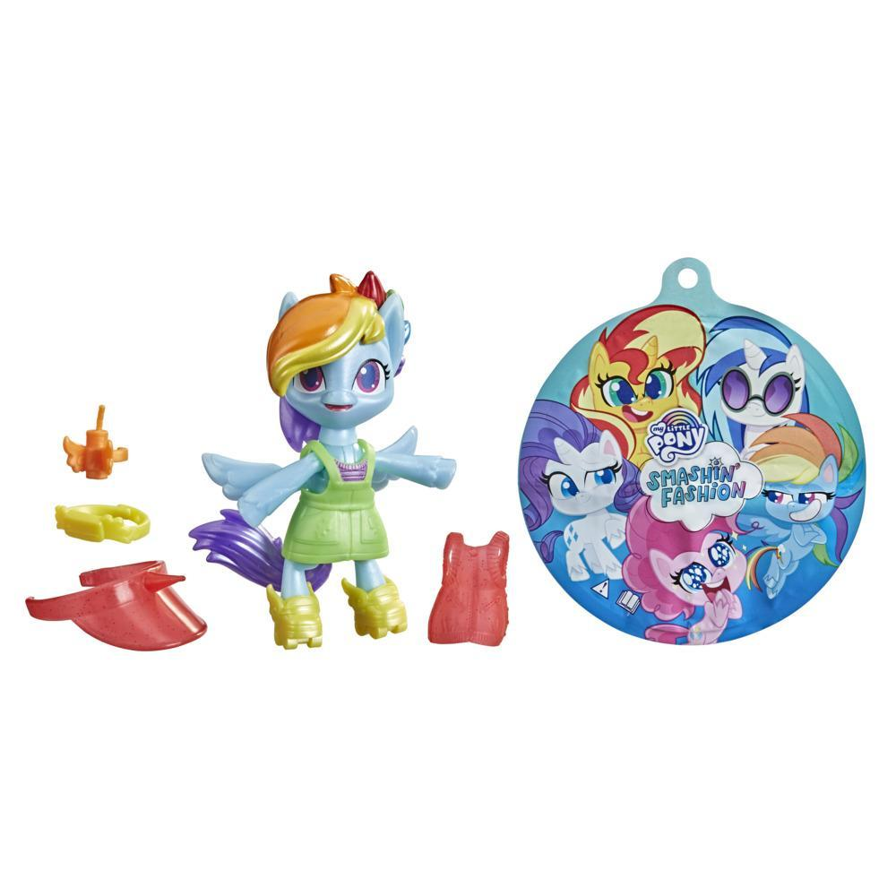 My Little Pony Smashin' Fashion, figurine articulée Rainbow Dash avec accessoires mode et jouet surprise