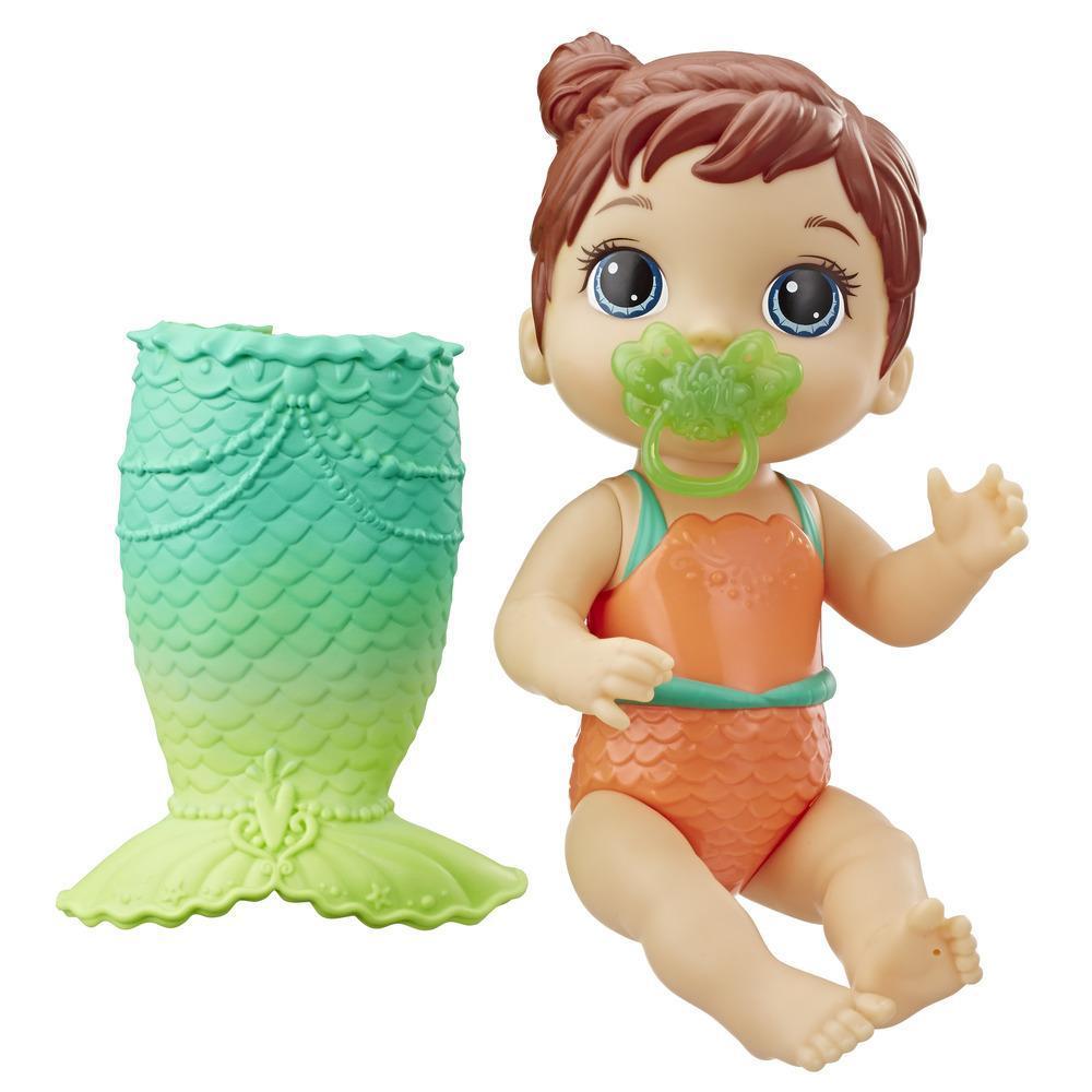 Baby Alive Aqua-bébé : poupée de bébé aux cheveux marrons qui joue dans l'eau, inclut queue de sirène à pince et suce, le haut du costume de bain change de couleur sous l'eau, poupée pour filles et garçons, à partir de 3 ans