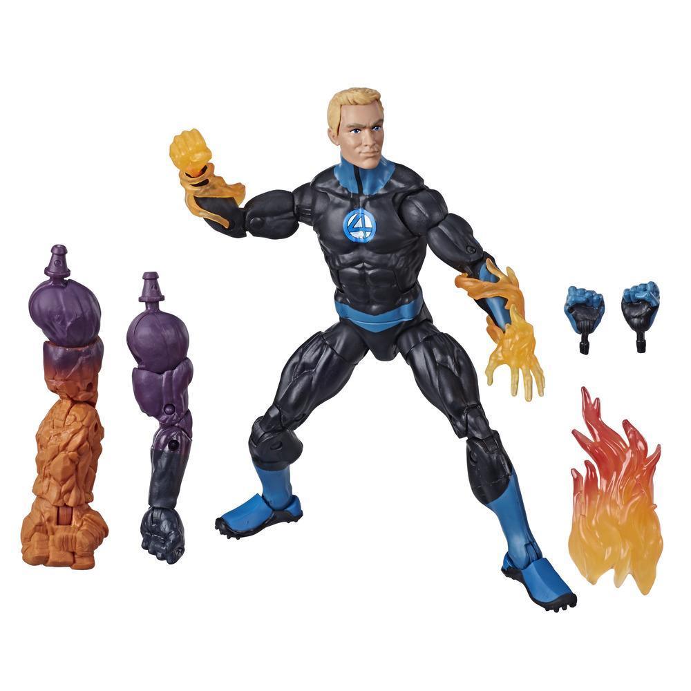 Hasbro Marvel Legends Series - Figurine jouet Human Torch de 15 cm, design premium et 4 accessoires, 3 pièces Build-a-Figure