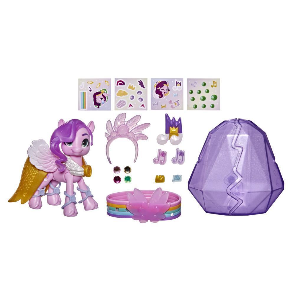 My Little Pony: A New Generation, Aventure de cristal Princess Petals, figurine de poney rose de 7,5 cm avec surprises