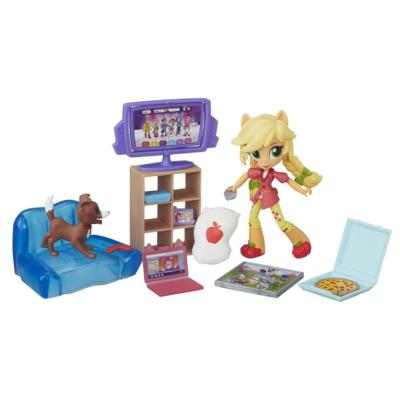 My Little Pony Equestria Girls - Mini poupée Applejack avec Jeux pour soirée pyjama