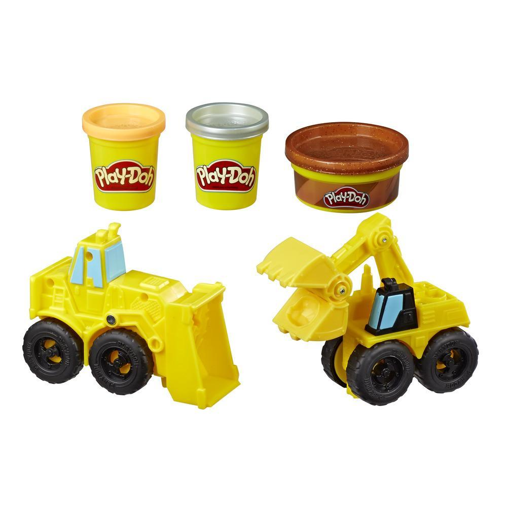 Excavatrice et chargeuse Play-Doh Wheels; camions-jouets de construction avec pâte de construction atoxique imitant le sable et 2 autres couleurs