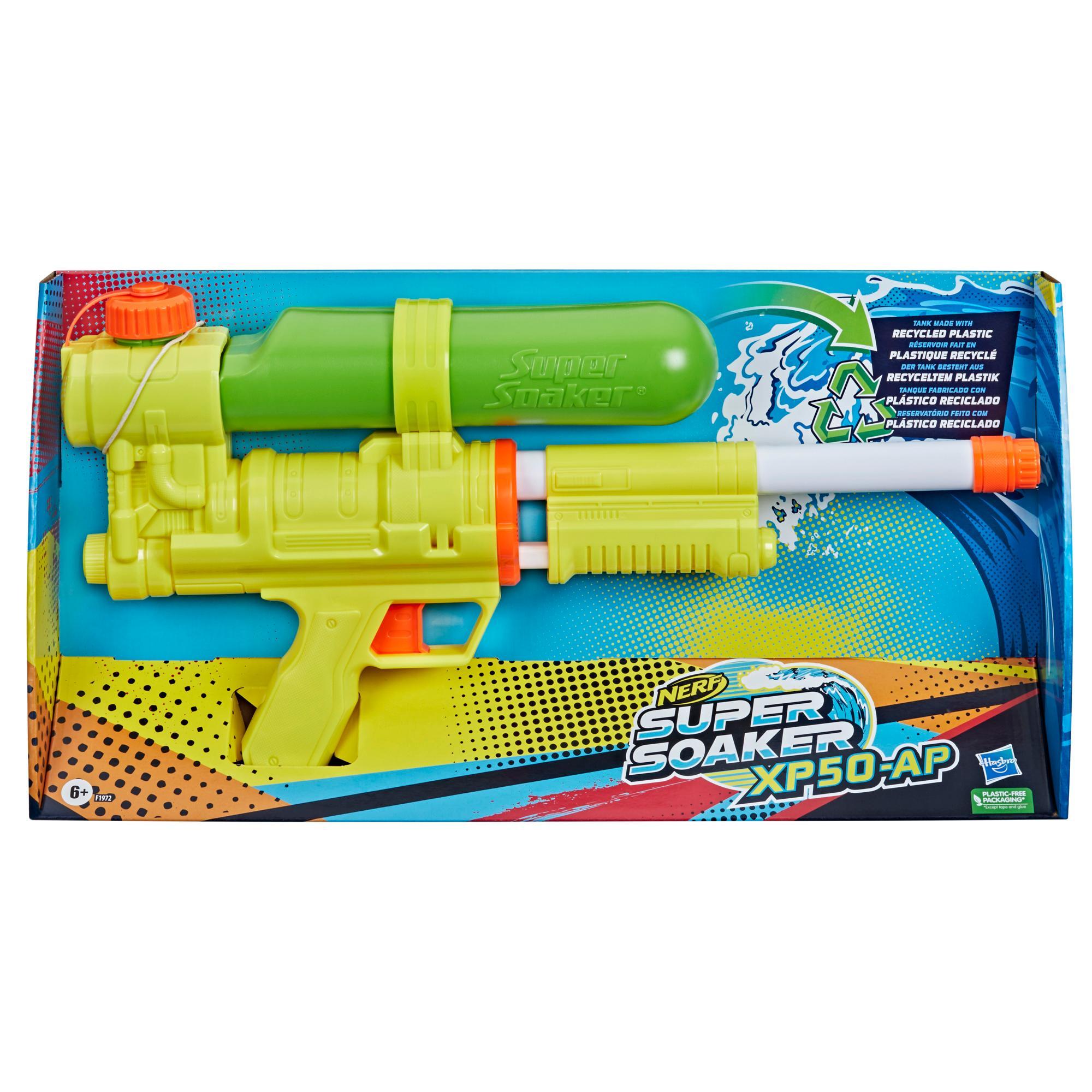 Nerf Super Soaker, blaster à eau XP50-AP, réservoir en plastique recyclé, jet d'eau continu à air comprimé