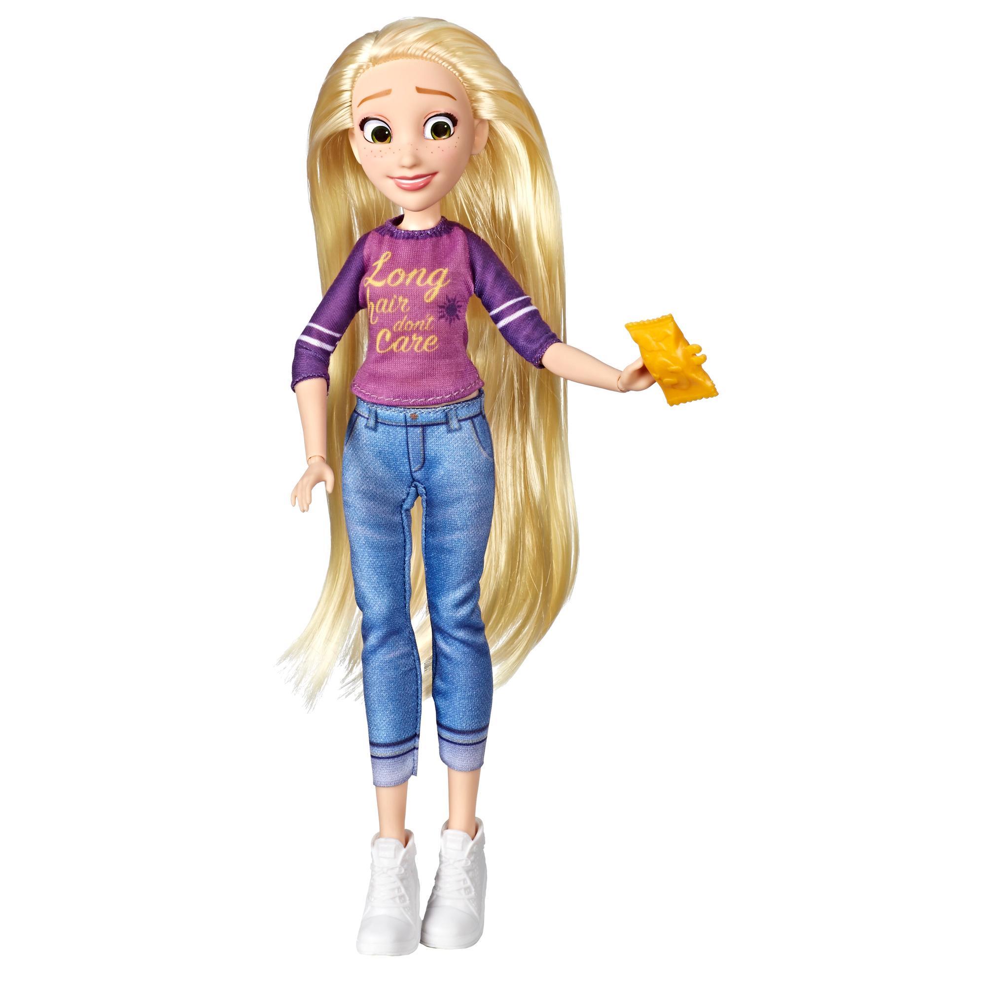 Disney Princess, du film Ralph 2.0/Ralph brise l'Internet, poupée Raiponce en tenue décontractée avec accessoires