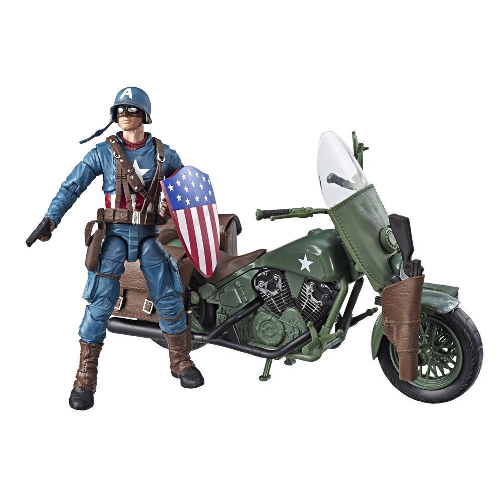 Marvel Legends Series - Figurine articulée Captain America à collectionner de 15 cm avec moto