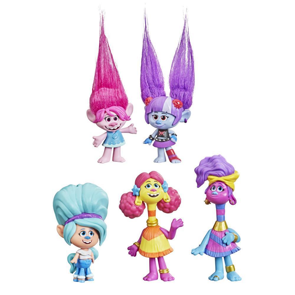 DreamWorks TrollsTopia Amis harmonie, 5 figurines Cheveux surprise, pour enfants, dès 4 ans