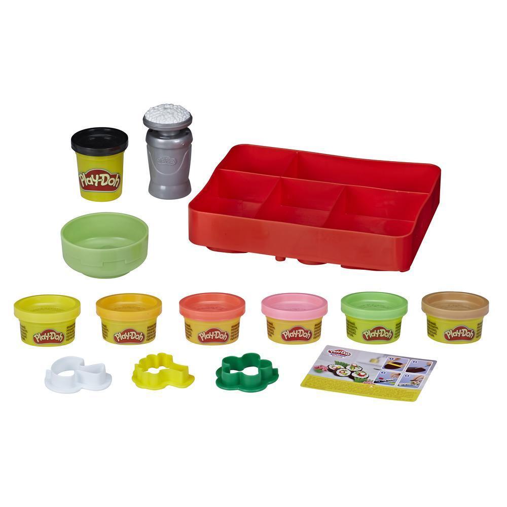 Play-Doh Kitchen Creations, trousse à sushis pour enfants, à partir de 3 ans, avec 9 pots de pâte atoxique Play-Doh
