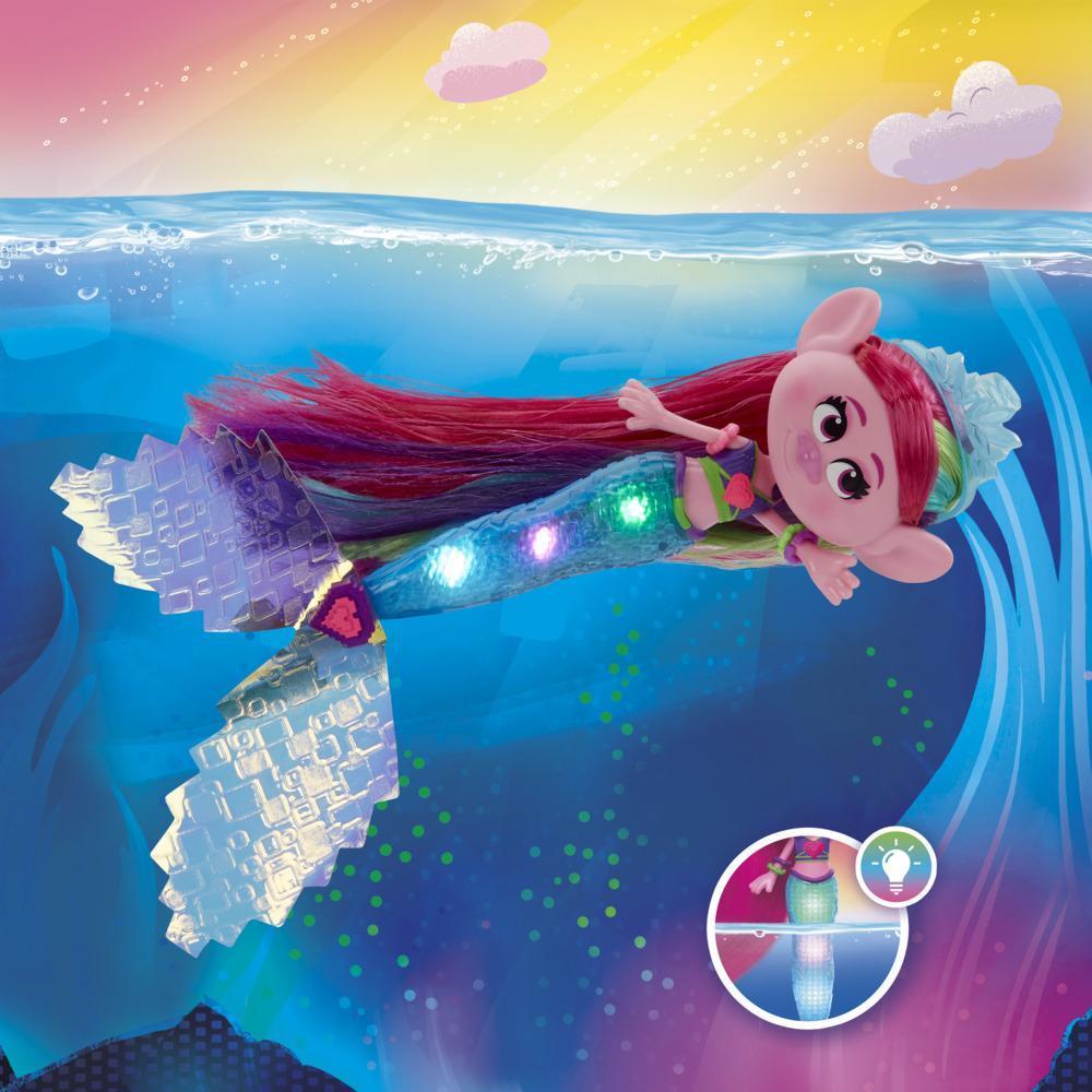 DreamWorks TrollsTopia, poupée Poppy la sirène techno, s'allume sous l'eau et hors de l'eau, pour enfants, dès 4 ans