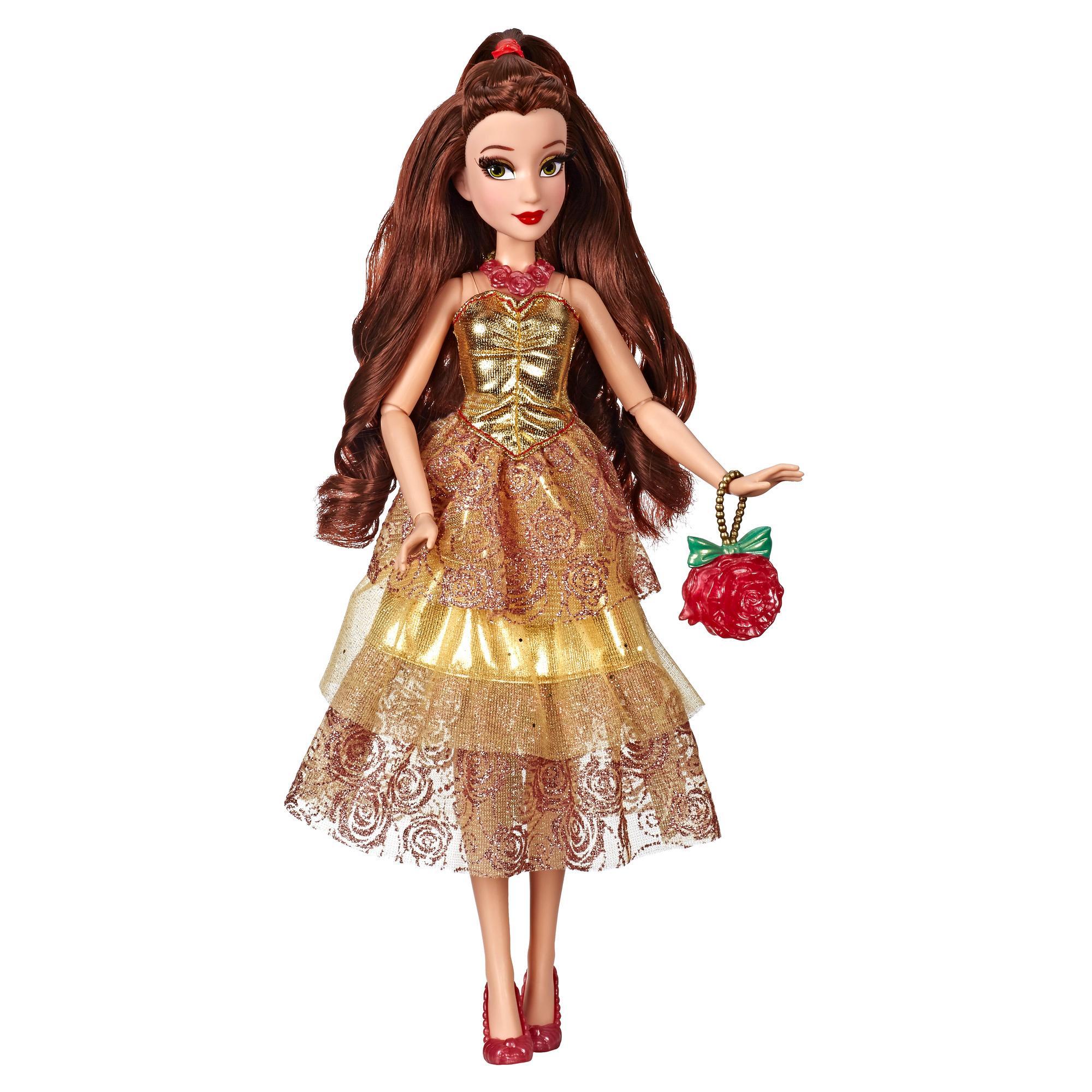 Disney Princess, série Style, poupée Belle au style moderne avec robe jaune étincelante et accessoires, à partir de 6ans