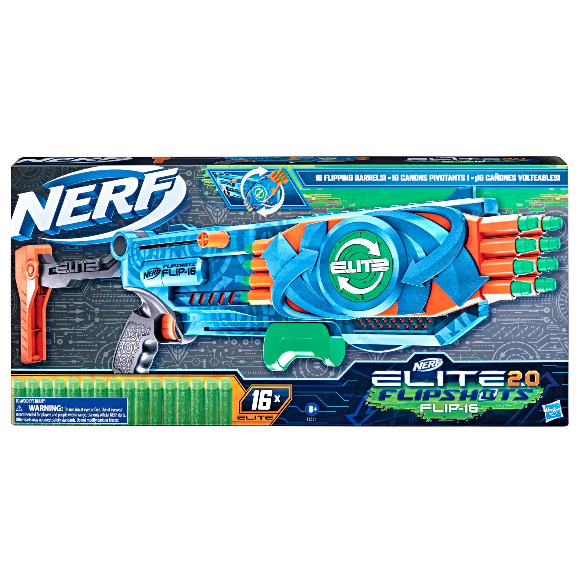 Nerf Elite 2.0, blaster Flipshots Flip-16, 2 fois 8 canons pivotants, capacité de 16 fléchettes, inclut 16 fléchettes