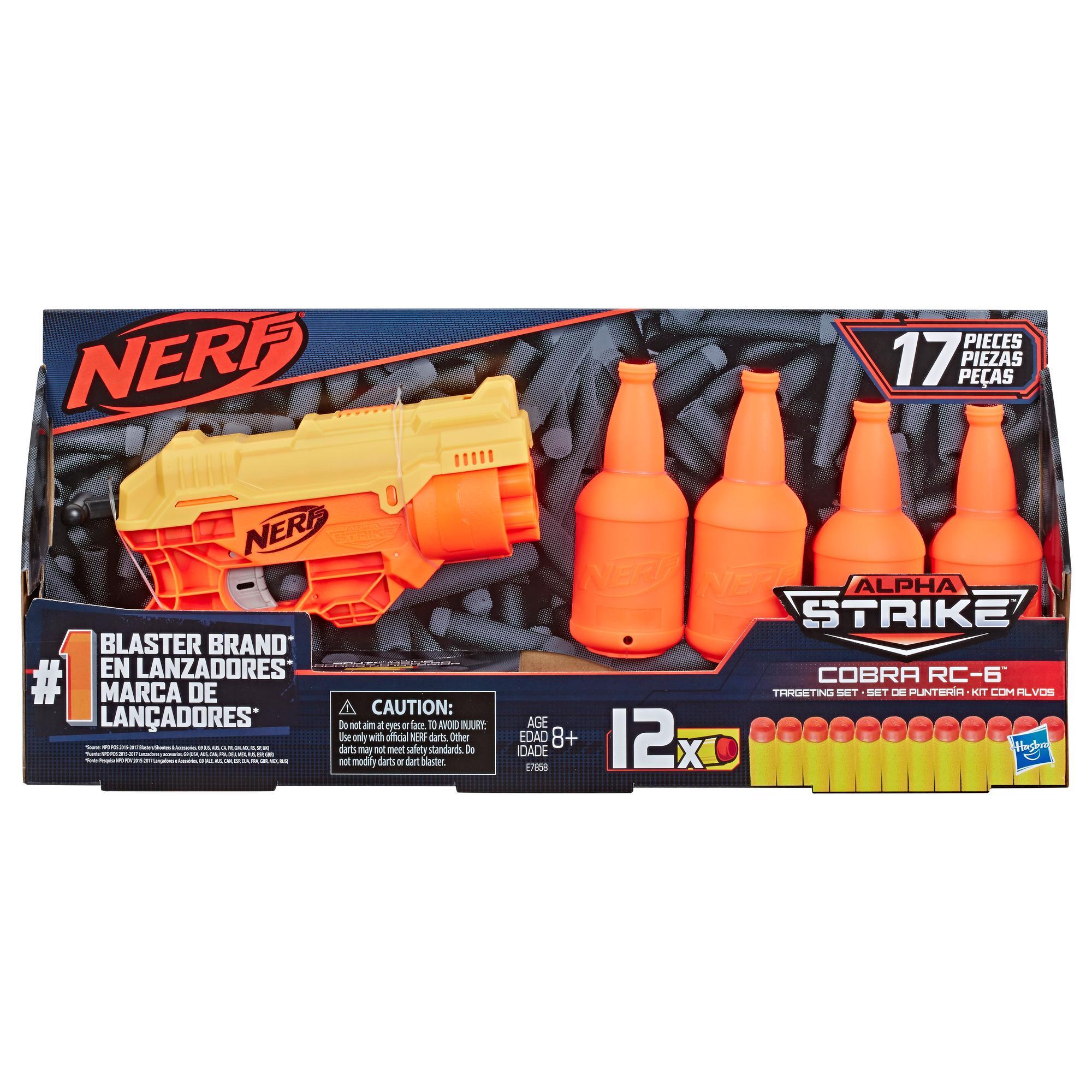 Ensemble de cibles pour 1 de 17 pièces Cobra RC-6 Nerf Alpha Strike, incluant 1 blaster jouet, 4 demi-cibles et 12 fléchettes Nerf Elite officielles, pour enfants, ados et adultes