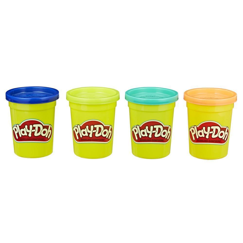 Play-Doh, Pack de 4 couleurs intenses atoxiques pour enfants à partir de 2 ans, pots de 112 g