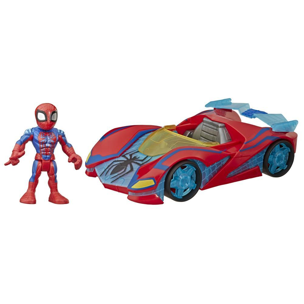 Playskool Heroes Marvel Super Hero Adventures, Bolide araignée Spider-Man avec figurine de 12,5 cm, enfants, dès 3 ans