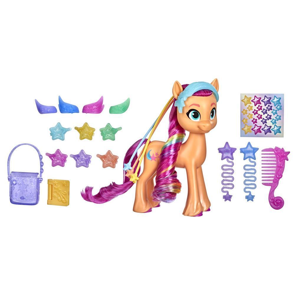 My Little Pony: A New Generation, Crinière arc-en-ciel Sunny Starscout, poney orange 15 cm, tresse surprise, 17 accessoires