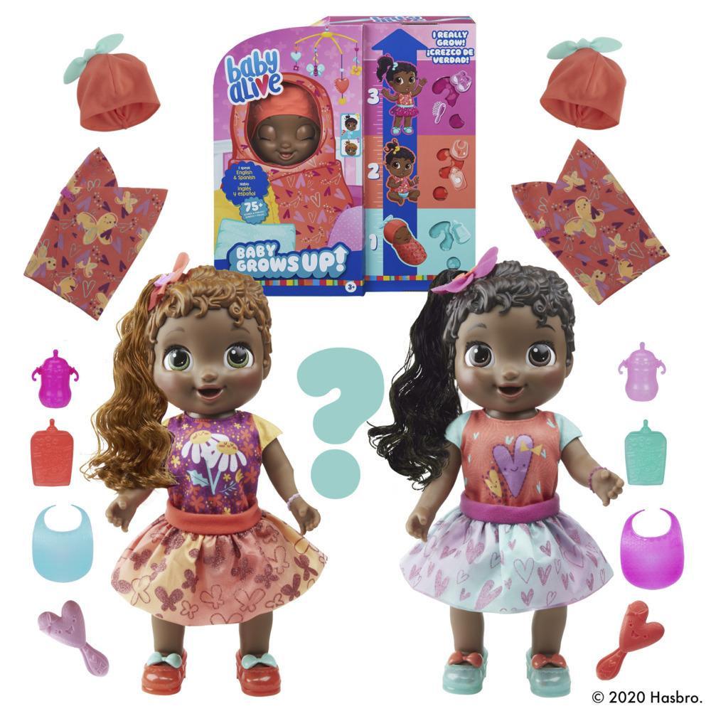 Baby Alive, Baby Grows Up (Adorable), Sweet Blossom ou Lovely Rosie, poupée qui croît et parle, accessoires mystères