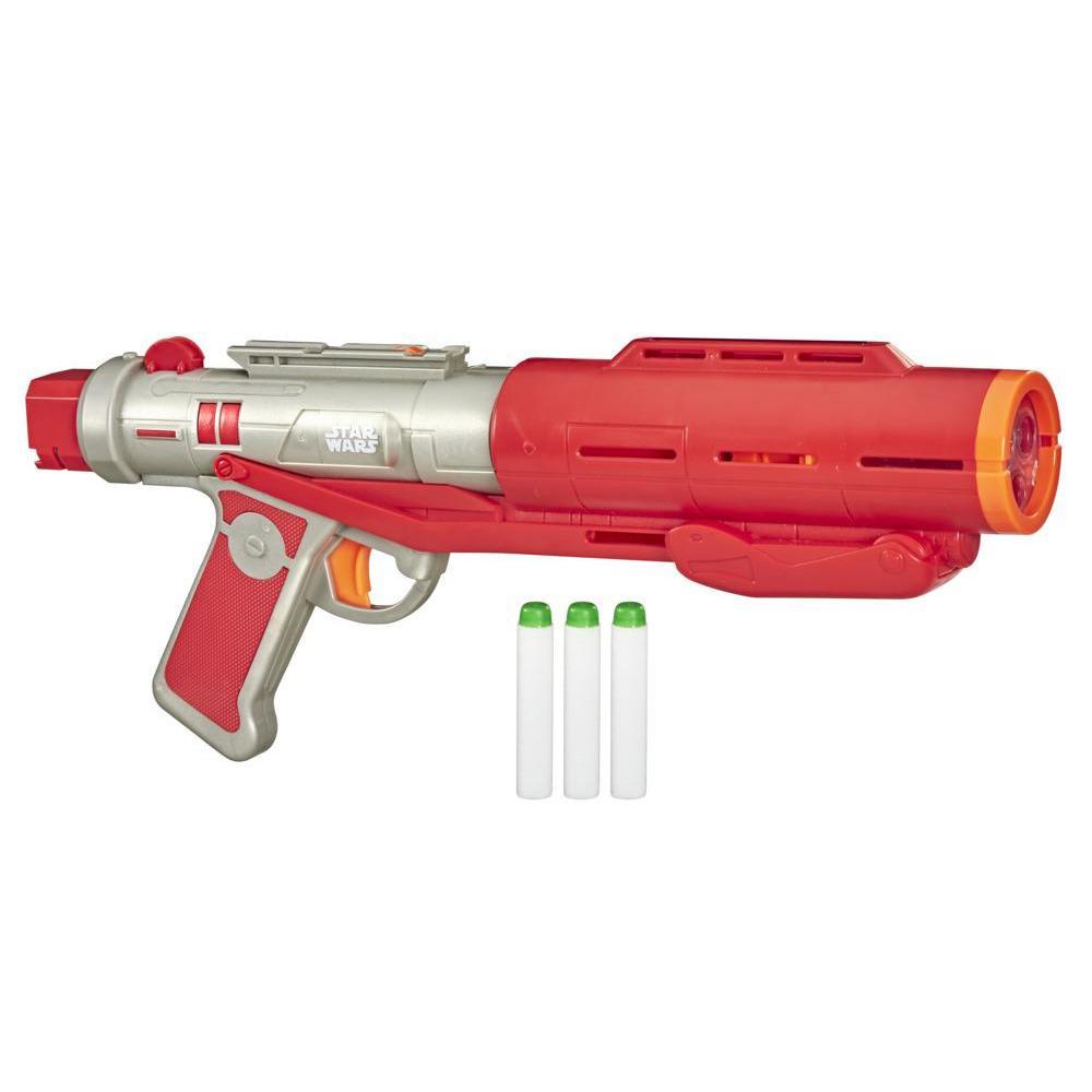 Nerf Star Wars The Mandalorian, blaster Deluxe de Death Trooper impérial, son et lumière, 3 fléchettes phosphorescentes