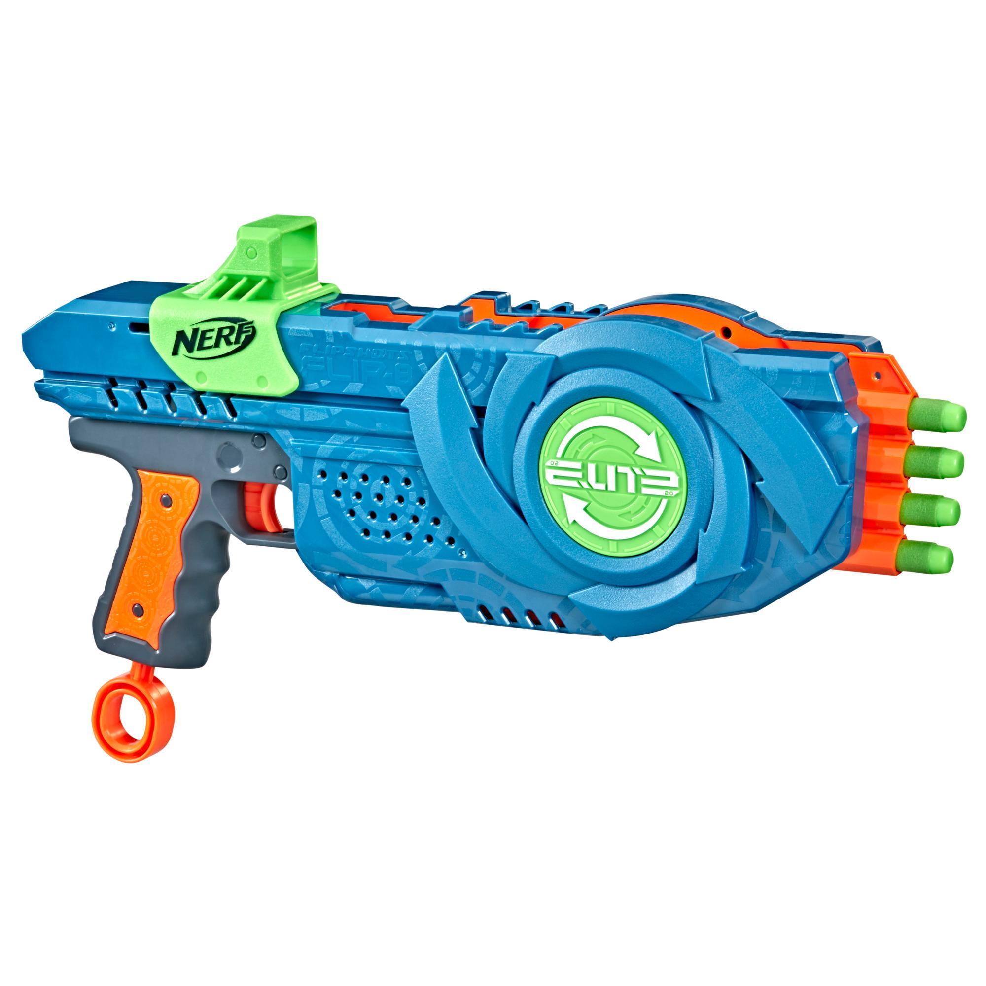 Nerf Elite 2.0, blaster Flipshots Flip-8, 2 fois 4 canons pivotants, capacité de 8 fléchettes, inclut 8 fléchettes Nerf