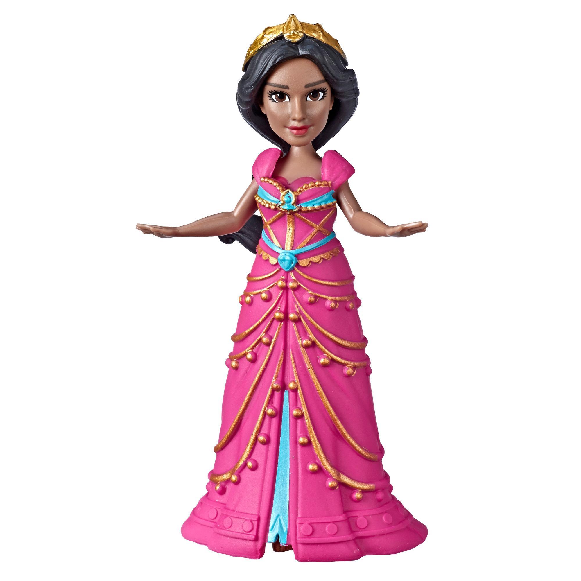 Disney - Poupée de collection Jasmine. Petite poupée de 8,5 cm vêtue d'une robe rose inspirée du film Aladdin de Disney, jouet pour enfants de 3 ans et plus