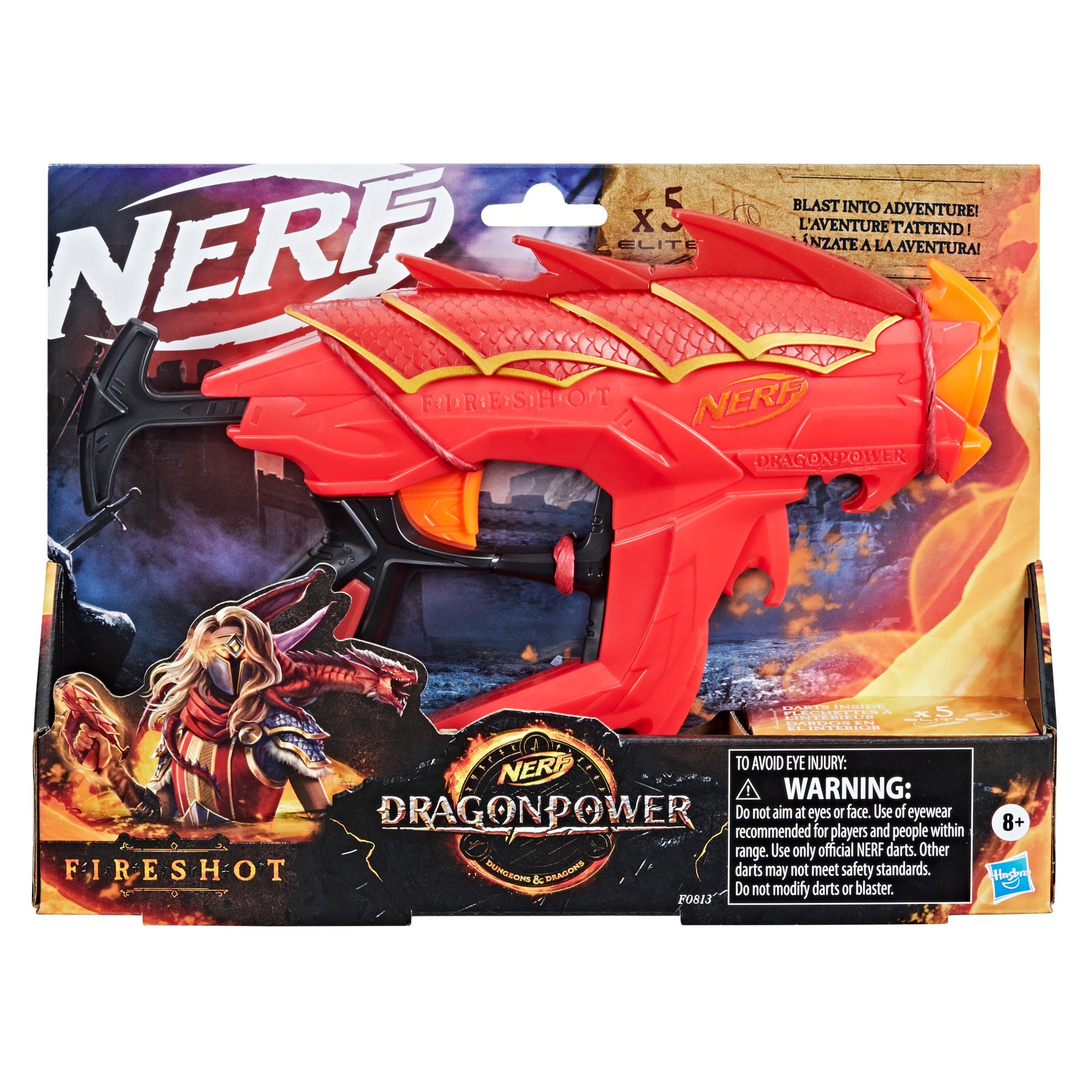 Nerf DragonPower, blaster Fireshot, inspiré de Dungeon and Dragons, 5 fléchettes Nerf Elite, range 4 fléchettes