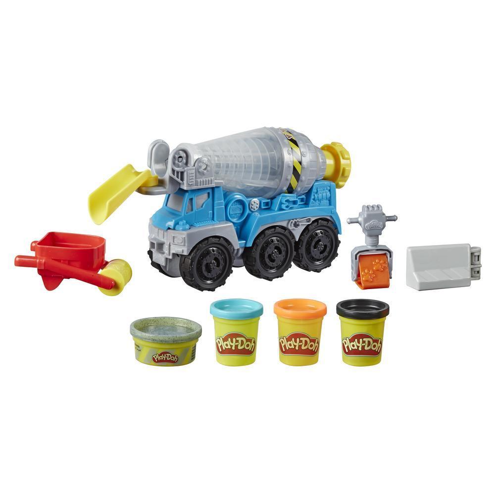 Play-Doh Wheels, Bétonnière, jouet pour enfants avec 4 couleurs de pâte Play-Doh atoxique