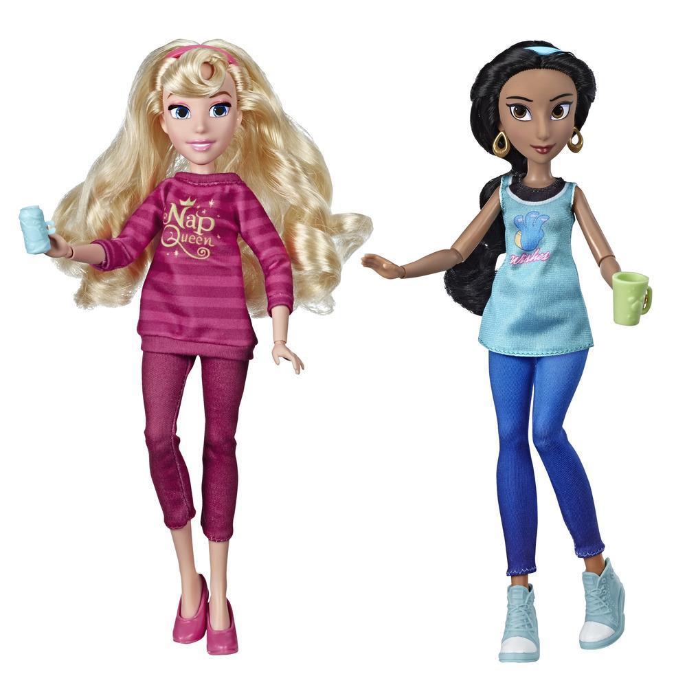 Disney Princess - Poupées Jasmine et Aurore en tenues décontractées avec accessoires inspirées du film Ralph brise l'Internet