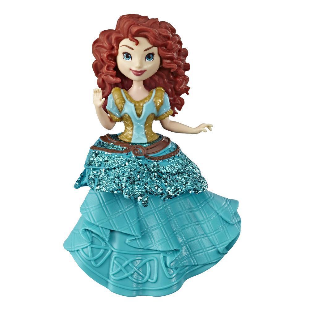 Disney Princesses Royal Clip - Mini poupée Mérida de collection avec tenue bleue et dorée scintillante, jouet pour les enfants à partir de 3ans
