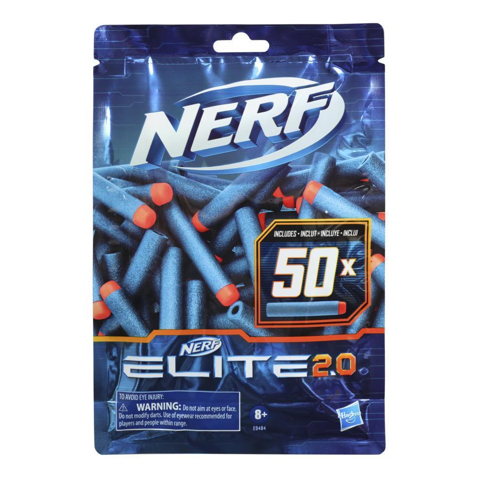 Nerf Elite 2.0, Recharge de 50 fléchettes en mousse Nerf Elite 2.0 officielles, compatibles avec les blasters Nerf Elite