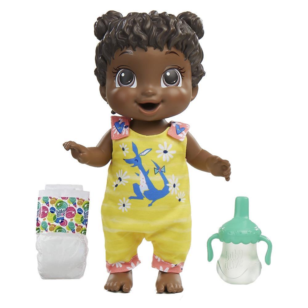 Baby Alive, poupée Bébé sautille, kangourou, sautille, boit et fait pipi, + de 25 effets sonores, cheveux noirs, dès 3 ans